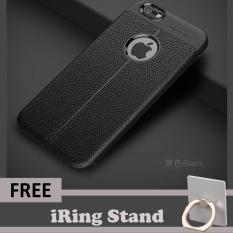 Original Ipaky Kulit The Ultimate Experience Case For Apple iPhone 6 Plus / 6s Plus Protective Shell Suit - Black - Free iRing Mobile Stand