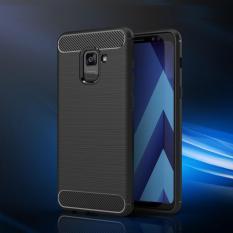 Original Lazada Case Ipaky Shockproof Carbon Hybrid For Samsung Galaxy A8 2018 - Hitam