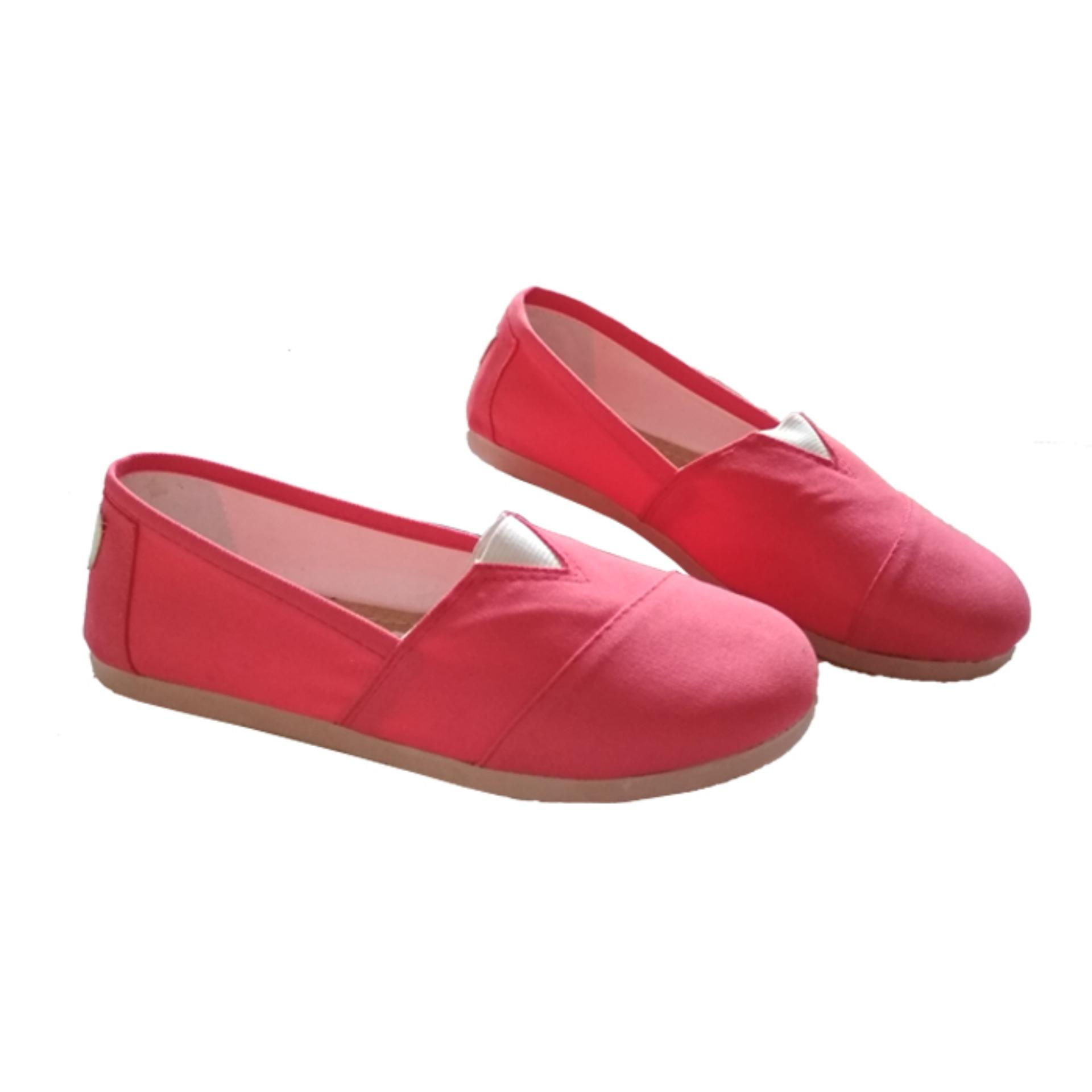 Original Sepatu Wanita Flat Shoes Casual ala Wakai Slip On Kanvas - (Maroon / Hitam / Salem / Abu)