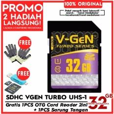 Original V-Gen SD Card 32GB Class 10 Turbo Series Free OTG Card Reader Micro SD / SDHC + Sarung Tangan Anti Panas