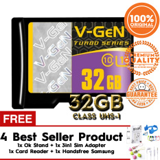 Original Vgen Micro SDHC 32GB Turbo 400X Memory Card - Hitam Gratis OK Stand + Card Reader + Sim Card Adapter + Handsfree Samsung