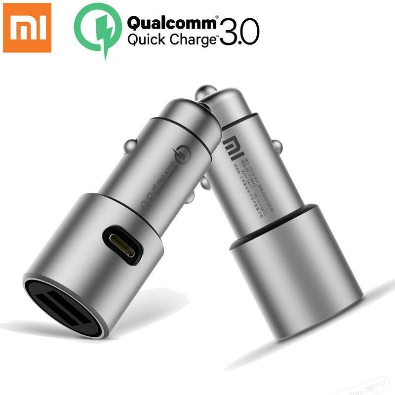 Original Xiaomi Mi Dual USB Car Charger 5V/3A 9V/2A 12V/1.5A Metal Universal Quick Charger QC 3.0 for Xioami iPhone Samsung LG Huawei