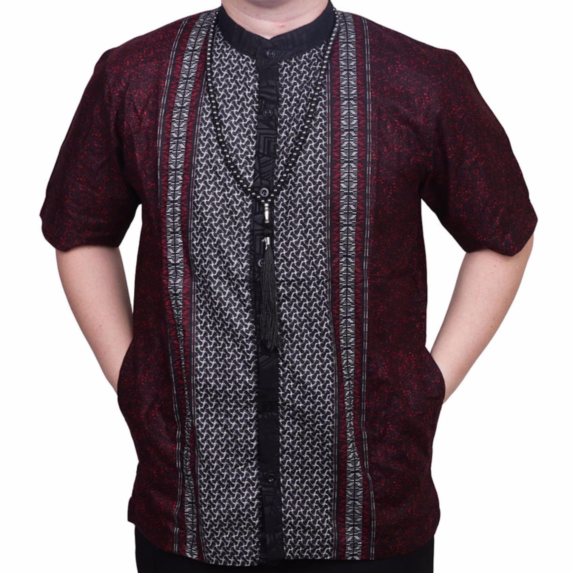 Harga Ormano Baju Koko Muslim Batik Lebaran Lengan Pendek Zo17 Kk06 Kemeja Fashion Pria Merah Murah