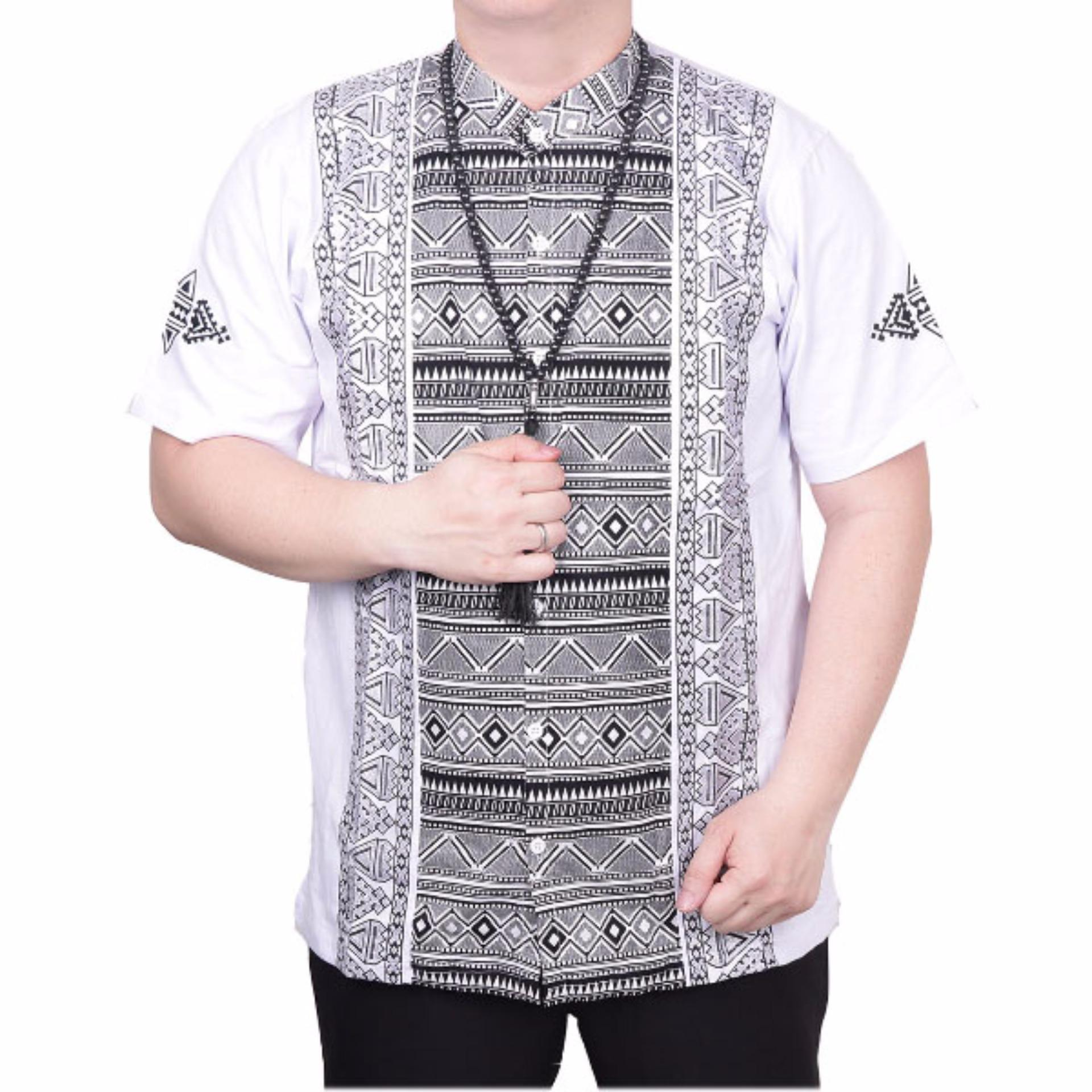Ormano Baju Koko Muslim Batik Lengan Pendek Lebaran Zo17 Kk30 Kemeja Fashion Pria Putih Ormano Diskon 30