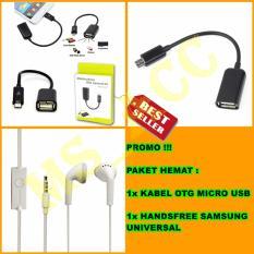 OTG Kabel Micro Usb + Handsfree Samsung Young / Universal Jack 3.5mm - Paket Hemat