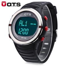OTS 7019G Pria LED Digital Sport Watch Water Resistance Pedometer Multifungsi Jam Tangan-Intl