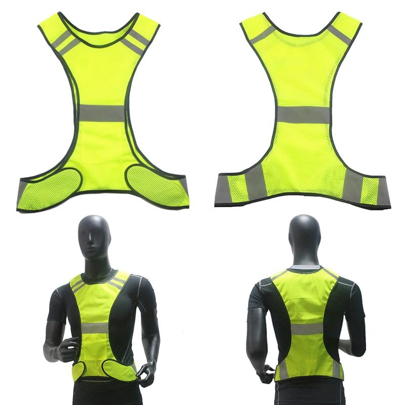 Outdoor Olahraga Rompi Visibilitas Tinggi Keamanan Gear Stripes Jaket Polyester Mesh Rompi Reflektif With Pocket For Kerja Malam Bersepeda Menjalankan Warna: Fluorescent Kuning By Magic Cube Express.