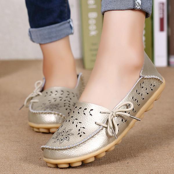 Pabrik Grosir Sandal Musim Panas Sepatu Lubang Kasut Leper Kulit Kasual Perempuan Berusia Doug Mama Sepatu Kode EMAS-Intl