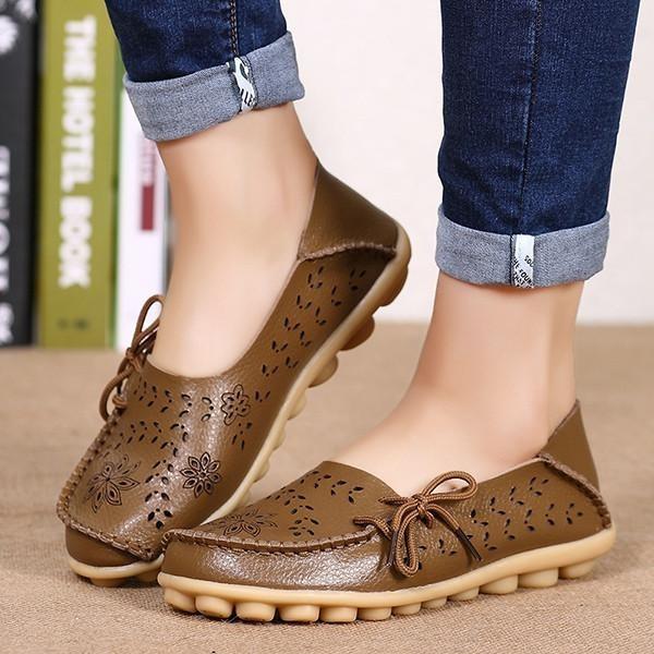 Pabrik Grosir Sandal Musim Panas Sepatu Lubang Kasut Leper Kulit Kasual Perempuan Berusia Doug Mama Sepatu Kode KHAKI-Intl