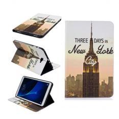 Lukisan Kulit PU Kembali Penutup Case untuk Samsung Galaxy Tab A 10,1 T580 T585 (besi Tower)-International