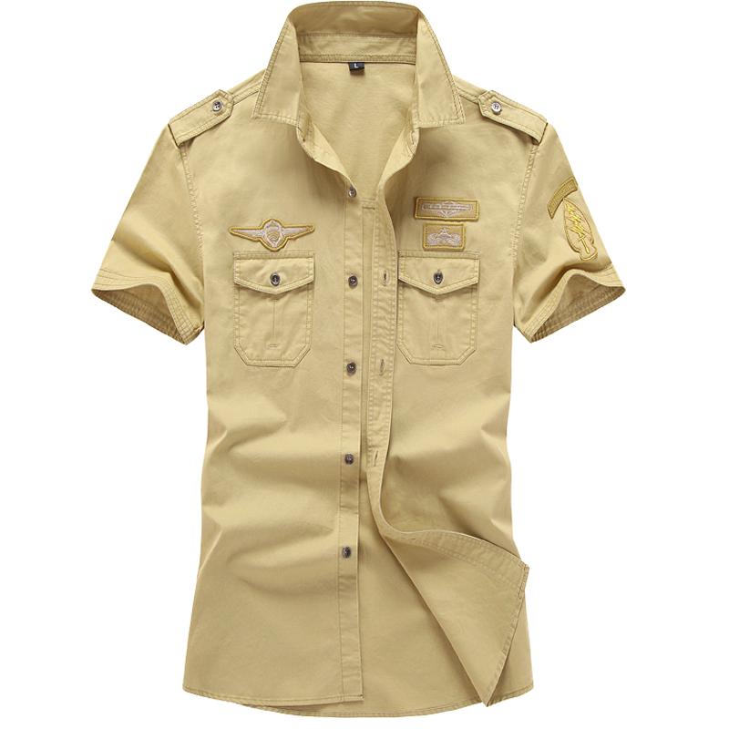 Pakaian Kerja Kemeja Pria Katun Murni Lengan Bang Pendek Ukuran Besar Longgar (Khaki) Baju Atasan Kaos Pria Kemeja Pria