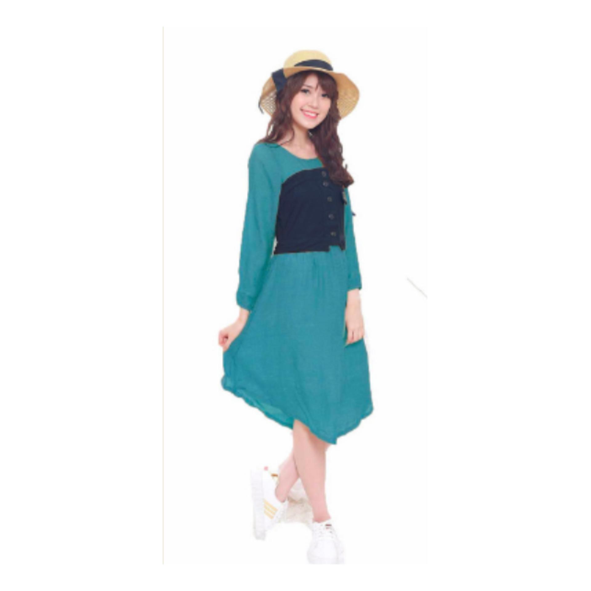 Pakaian Murah wanita gaya korea Kombinasi Gaun cantik simple elegan