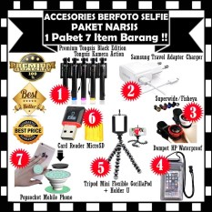 Paket Accesories Berfoto Selfie - Premium Tongsis Black Edition Tongsis Kamera Action +  Travel Adapter Charger Plus Micro USB Cable + Superwide / SelfiCam + Tas HP Waterproof + Tripod Mini Flexible Holder U + Card Reader MicroSD & Popcoket Mobile Phone