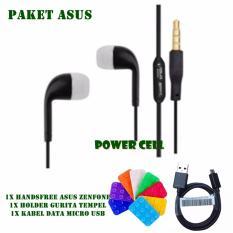 PAKET ASUS Handsfree Universal Asus Zenfone + Kabel Data Asus + Holder Tempel Handphone