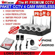 PAKET CCTV WIRELESS 4 IP CAMERA 1.3 MEGAPIXEL IP KAMERA SUPER HD + HARDISK 2 TERA SIAP PAKAI TERMURAH