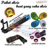 Spesifikasi Paket Eksis Tongsis Selfie Stick Shutter Bloetooth Fish Eye Smartphone Telescope 8X Bagus