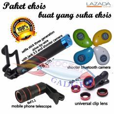 Spesifikasi Paket Eksis Tongsis Selfie Stick Shutter Bloetooth Fish Eye Smartphone Telescope 8X Dan Harga