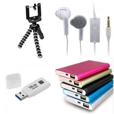 Paket Hemat Power Bank Slim+Tripod Mini Gorilla+Flashdisk Toshiba 16GB+Handsfree Samsung