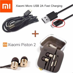 PAKET HEMAT Xiaomi Handsfree / Headset / Earphone Piston 2nd GEN + Kabel Data Xiaomi Micro USB Fast Charge Original 100%