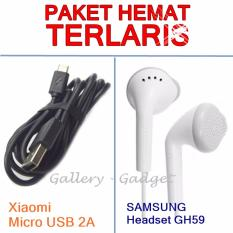 Paket Hemat Xiaomi Kabel Data Micro USB + Headset Young GH59 - Original