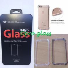 Paket Iphone 5 / 5s / se Magic Glass Tempered Glass + Acrylic Anticrack Case