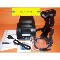 Paket Kasir 1... Printer Kasir Thermal 58 mm & Scanner Barcode With Stand