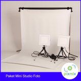 Jual Paket Komplit Mini Studio Foto 60 Cm Background 6W Lamp Stand Original
