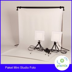 Harga Paket Komplit Mini Studio Foto 60 Cm Background 6W Lamp Stand Branded