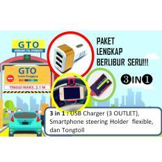 Paket Liburan Seru 3in1 USB Charger 3 outlet - smartphone steering holder flexible - dan tongtoll perlengkapan wajib liburan dan mudik anda (warna dikirim random)