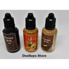 Liquid Vape Liquit Premium Non Nikotine Paket Isi 3 Rasa : Rasa Jagung Bakar, Rasa Choco Milk, Rasa Durian 30 ml