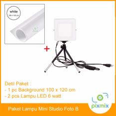 Paket Mini Studio Foto - 2 Pcs Lampu 6 Watt & Background 100 X 120 Cm