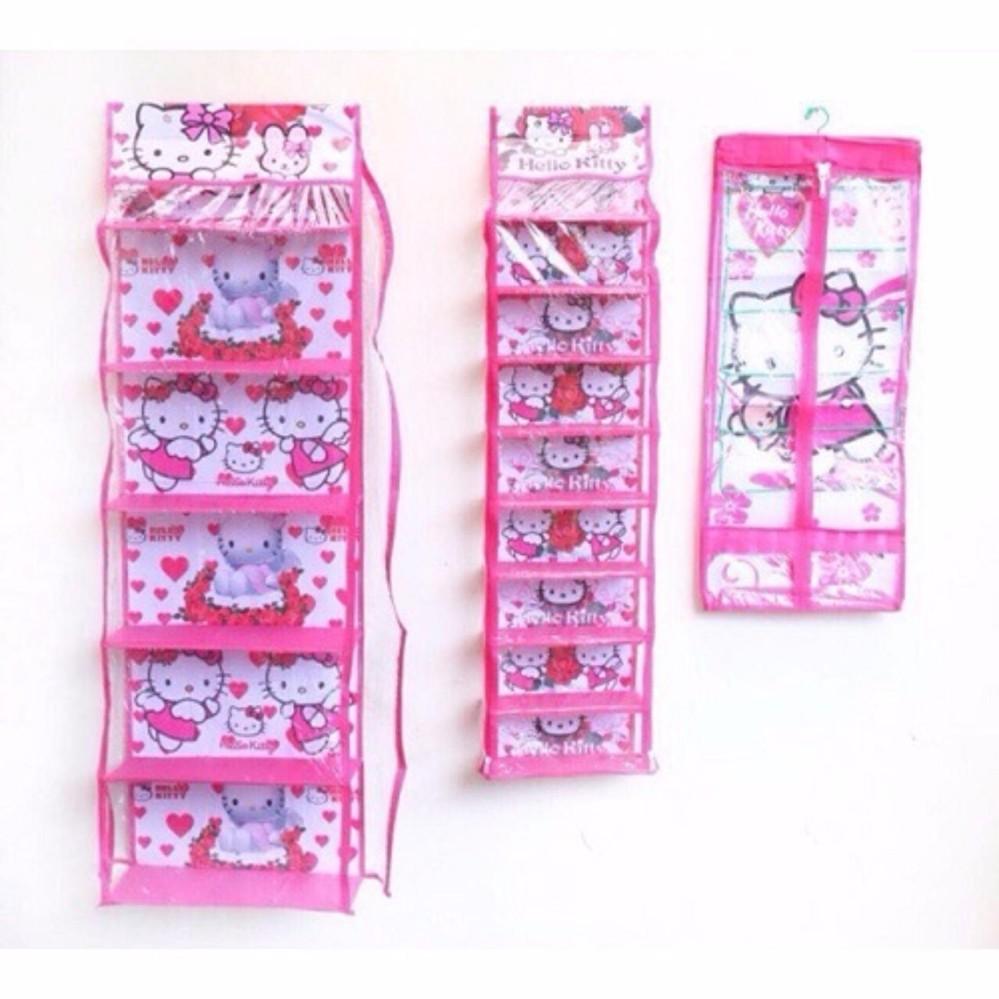 PAKET Rak Gantung 3IN1 (TAS,SEPATU,JILBAB) HELLO KITTY pink FULL SLETING