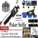 Beli Paket Selfie Tongsis Monopod Black Fish Eye Clip Lens 3 In 1 Gratis I Ring Led Lamp Bumper Silicone Tongsis Asli