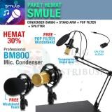 Model Paket Smule Proffesional 2 Microphone Bm800 Stand Gantung Pop Filter Splitter Terbaru