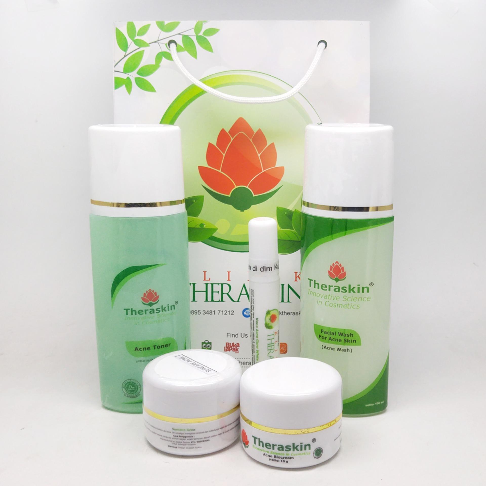 Paket Theraskin Acne Glow - Paket Khusus Jerawat Ringan dan Sedang Untuk Kulit Normal + Serum Nano Acne Glow + GRATIS POUCH