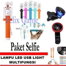 Paket Tongsis Monopod Selfie Stick Kombinasi Orange +Lensa Super Wide 0.4 X + GRATIS Lampu