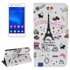 Palet Sweet Street Pola Kulit Case dengan Pemegang dan Slot Kartu dan Dompet untuk Huawei Ascend G620S-Intl