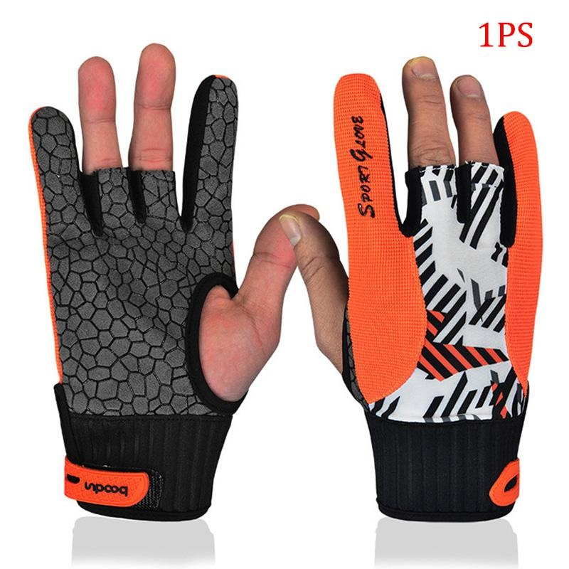 PALIGHT 1 Pcs Profesional Bowling Sarung Tangan Elastis Silikon Non-slip Bicycling Olahraga Setengah Jari Sarung Tangan (Ukuran: M Warna: Oranye)-Intl