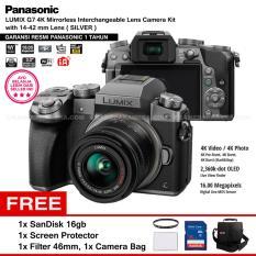 Panasonic DMC-G7K Silver - Kamera Mirrorless G7 WiFi 4K 16MP + Lumix G Vario 14-42mm/ F3.5-5.6 II ASPH (Garansi Resmi) + Screen Protector + SanDisk 16GB + Filter 46mm + Camera Bag