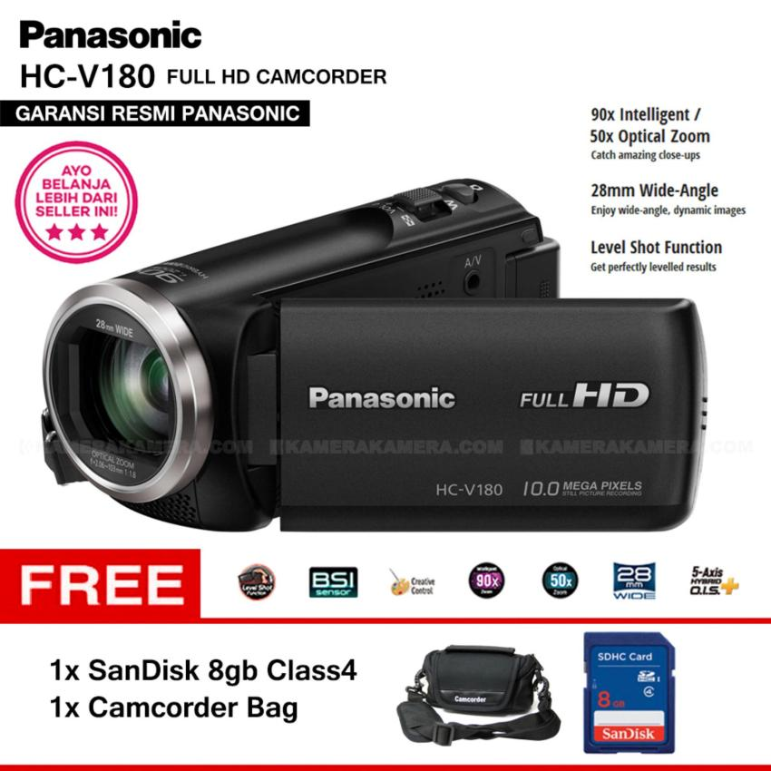 Beli Panasonic Hc V180 Handycam 28Mm Wide 10 0Mp 90X Intelligent Zoom 5 Axis Hybrid Full Hd Camcorders Garansi Resmi Sandisk 8Gb Camcorder Bag Nyicil