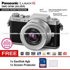 PANASONIC LUMIX DMC-GF8K (SILVER) with LUMIX G VARIO 12-32mm WiFi 16MP Built in Flash Full HD - Garansi Resmi  Mirrorless Camera GF8 + SanDisk 8gb + Screen Protector