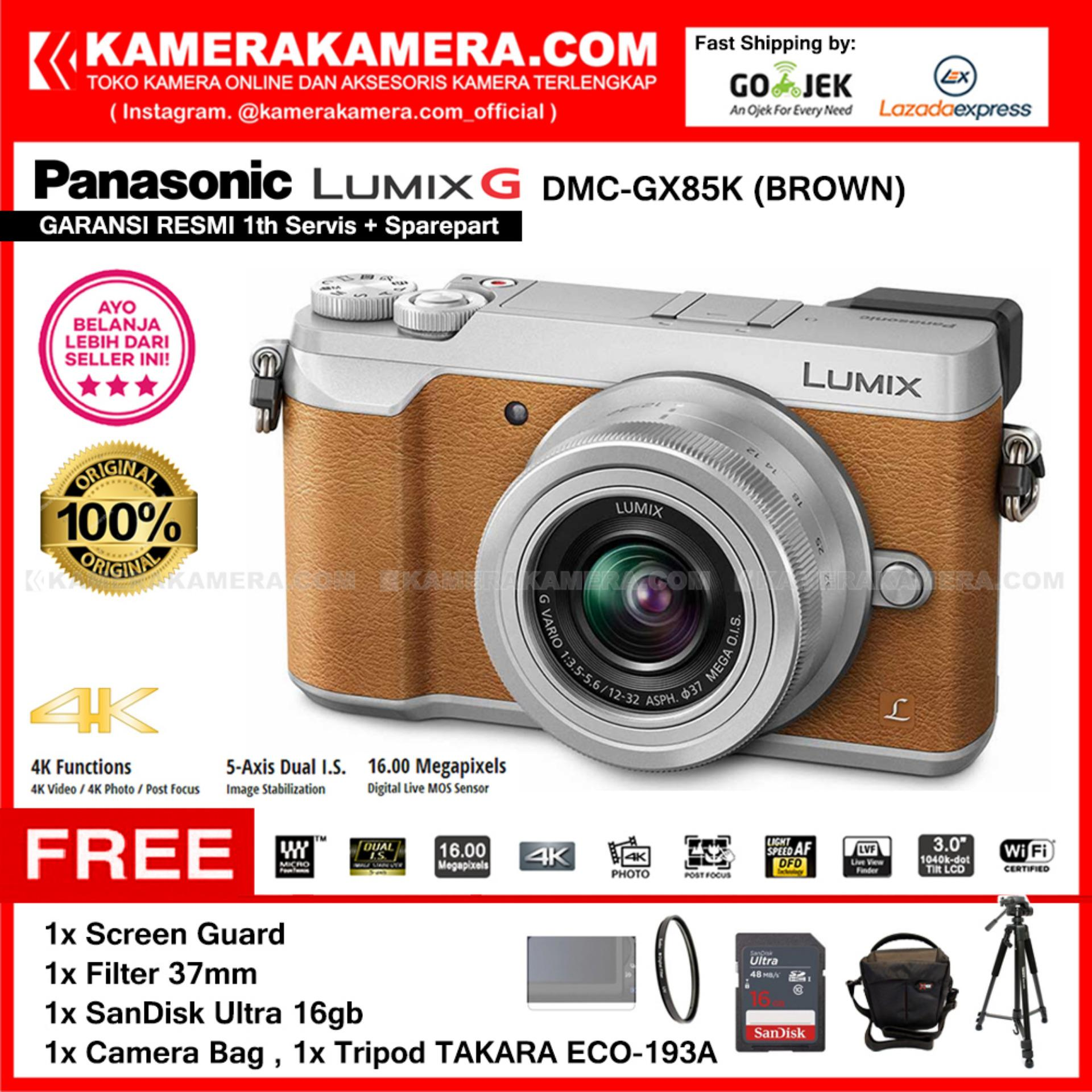 PANASONIC LUMIX DMC-GX85K Kamera Mirrorless GX85 BROWN 12-32mm (Resmi) Free SanDisk Ultra 16gb + Screen Guard + Filter 37mm + Bag + Takara ECO-193A