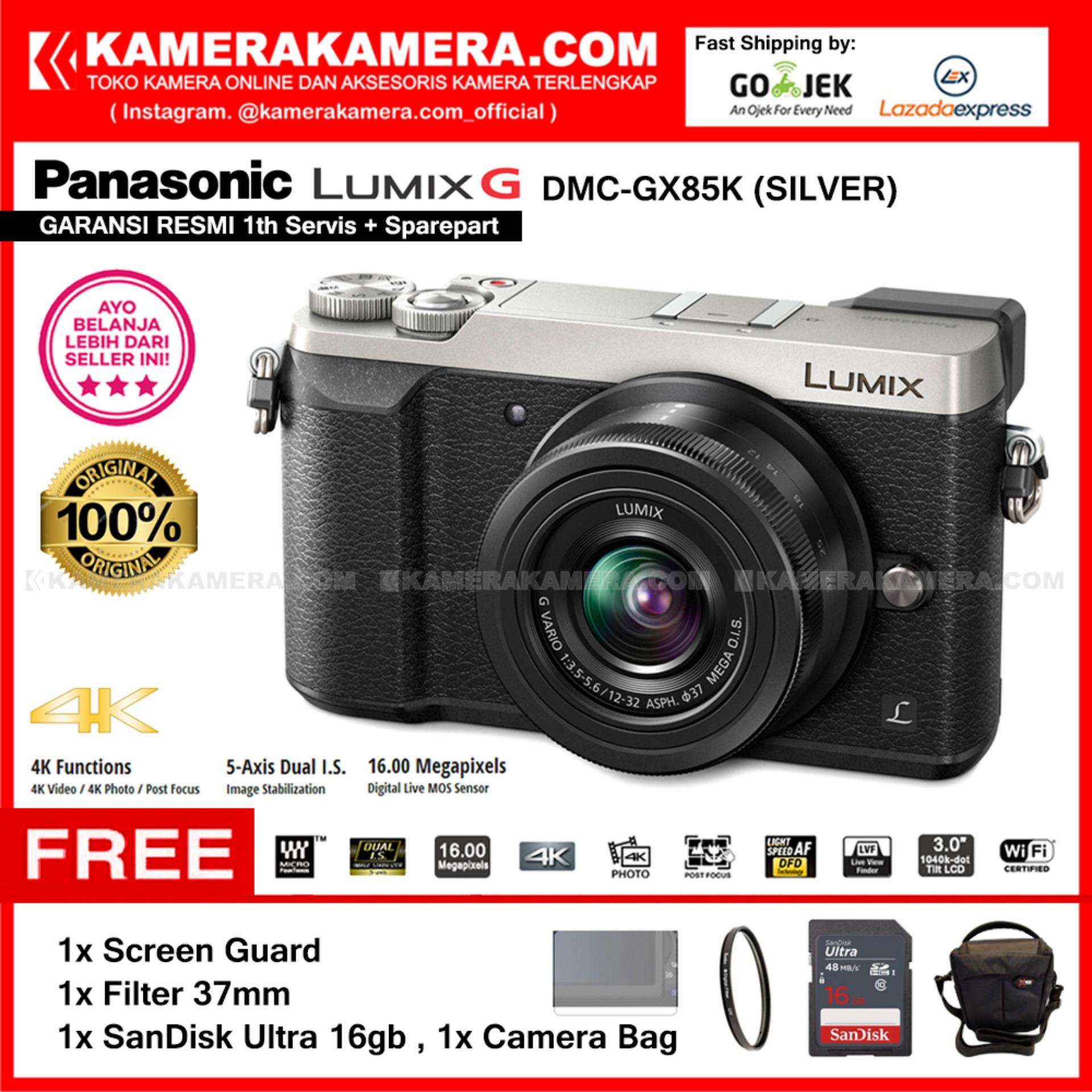 PANASONIC LUMIX DMC-GX85K Kamera Mirrorless GX85 SILVER Kit 12-32mm (Garansi Resmi) Free SanDisk Ultra 16gb + Screen Guard + Filter 37mm + Camera Bag