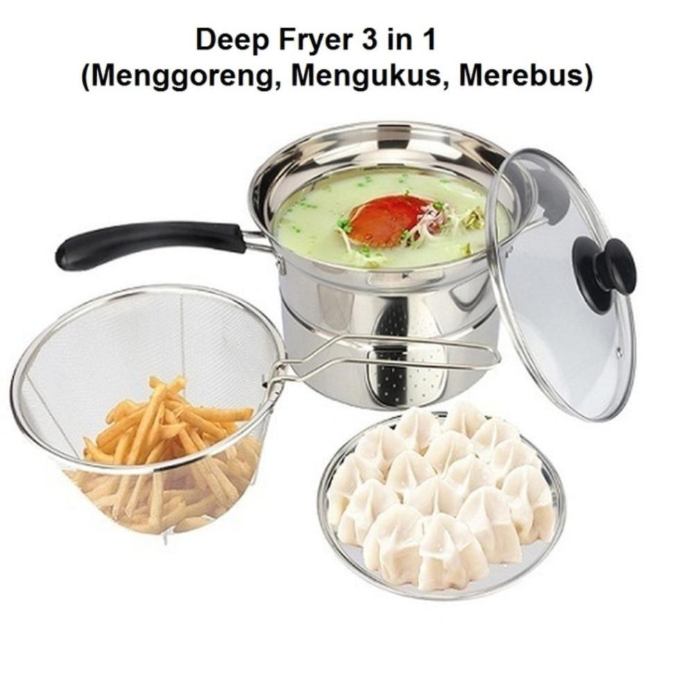 Harga Panci Deep Fryer 3 In 1 Stainless Steel 22 Cm Goreng Kukus Rebus Terbaru