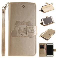 Panda Embossed Leather Magnetic Flip Cover untuk IPhone 6/iPhone 6 S (GOLDEN)