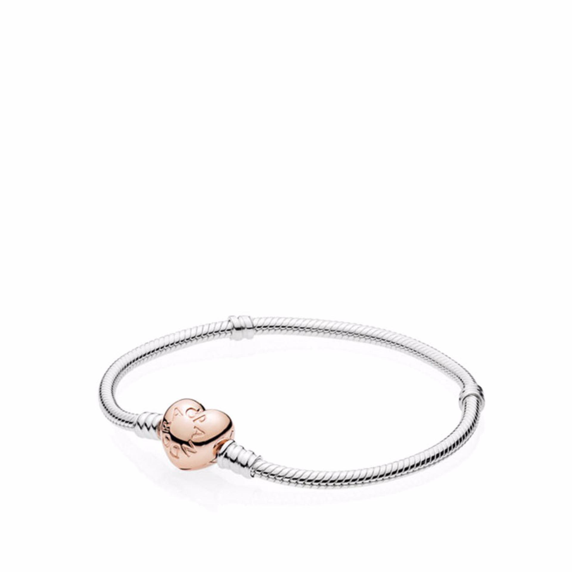 4b8063eae ... australia pandora silver bracelet with heart shaped pandora rose clasp  18 silver lazada indonesia 9006b 03933