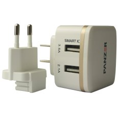 Beli Panzer Travel Charger 2 Usb Ports With Smart Ic Dan Fast Charging 3 5A Putih Panzer Online