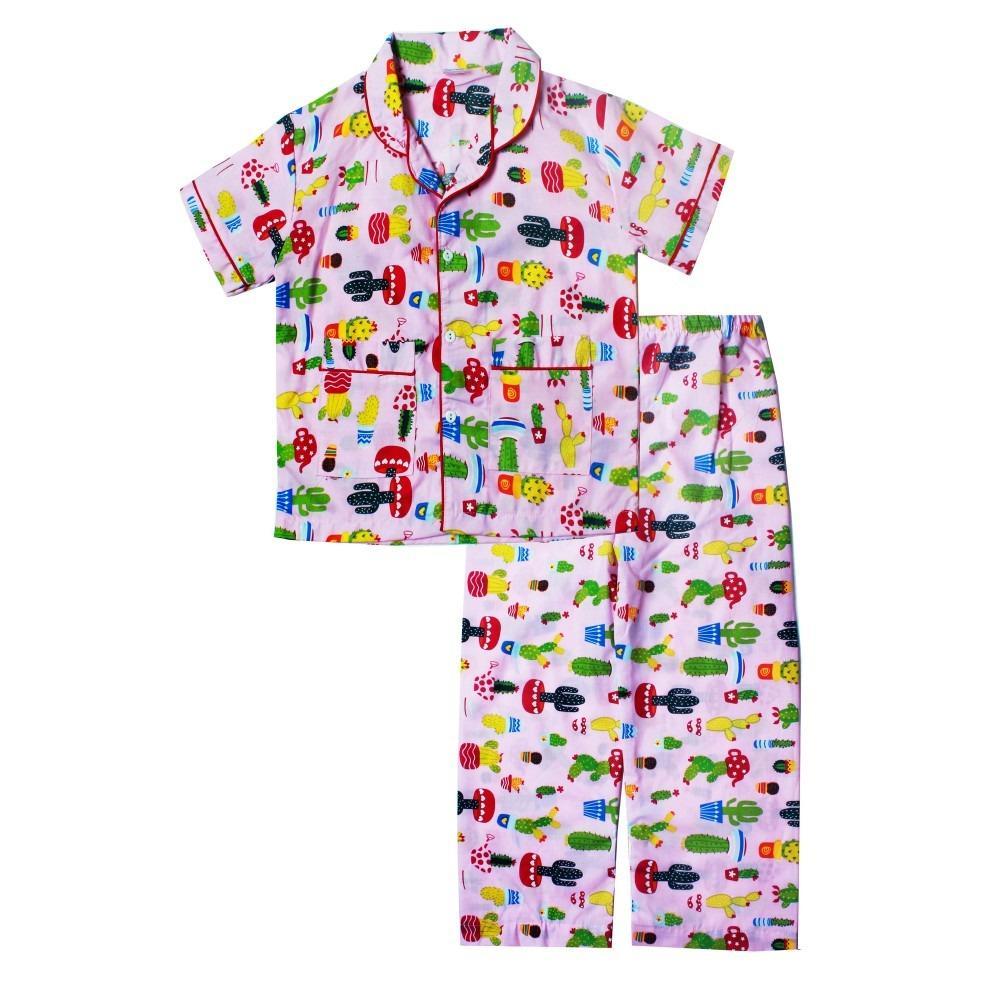 Papeterie Setelan Baju Tidur Piyama Anak Perempuan Kaktus PJ022
