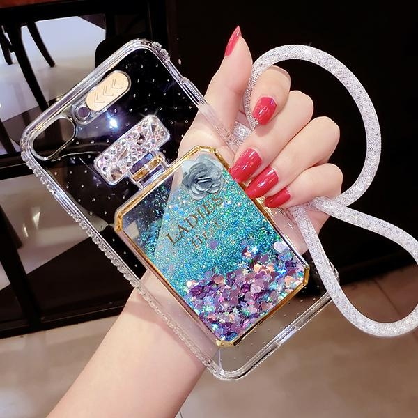 Pasir Isap Cair Glitter Case untuk OPPO R9s Plus/OPPO F3 PLUS Soft TPU LED Flash Incoming Call Blink Senter Cover Dinamis Bling Parfum Botol Biru-Intl