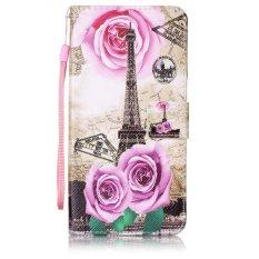 Bermotif Kulit Phone Case With Tali For Lenovo A7000/A7000 Plus/K3 Catatan-Menara Eiffel And Rose Bunga